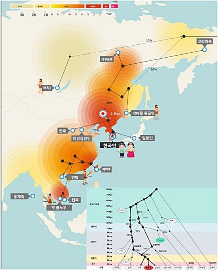 한국인과 동아시아인 기원 예측 모델에 기반한 한국인 혼혈과 관계된 고대와 현대 게놈들. 수만 년간 존재했던 많은 인족 중 게놈정보가 밝혀진 인족(회색 박스 내 혼혈 족보)들을 기준으로 삼아 한국인의 기원과 혼합을 컴퓨터로 예측한 그림. [클리노믹스 제공. 재판매 및 DB 금지]