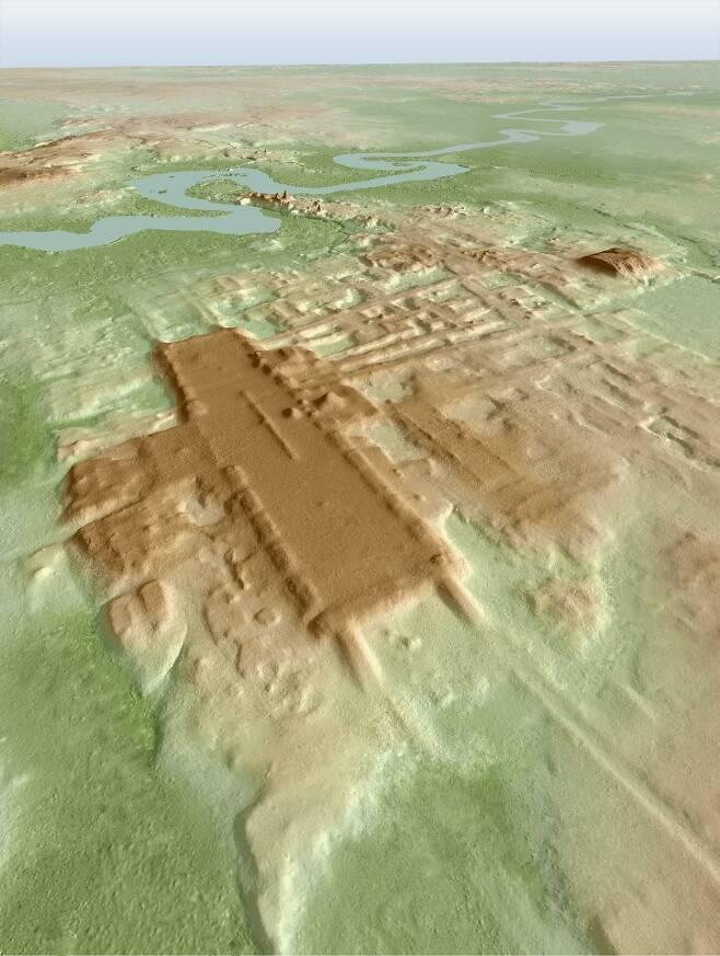 라이다 탐사를 바탕으로 한 아쿠아다 페닉스 마야문명 유적지 3D 사진 [Takeshi Inomata 제공. 재판매 및 DB 금지]