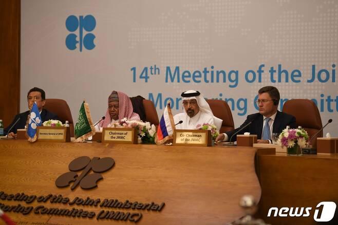 OPEC+ 회원국 석유장관들이 회의를 하고 있는 모습 © AFP=뉴스1 자료 사진