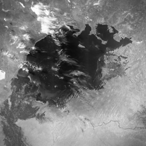 1964년 NASA 위성으로 촬영한 아랄해의 모습. 미 항공우주국(NASA)