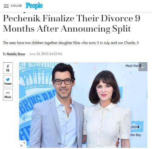 배우 주이 디샤넬(오른쪽)이 프로듀서인 남편 제이콥 페체닉과 결혼 5년만에 이혼했다. 출처|피플