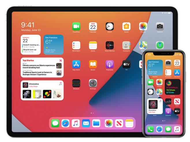 아이패드와 아이폰 모두 화면에 위젯 배치를 지원한다. 출처=애플코리아