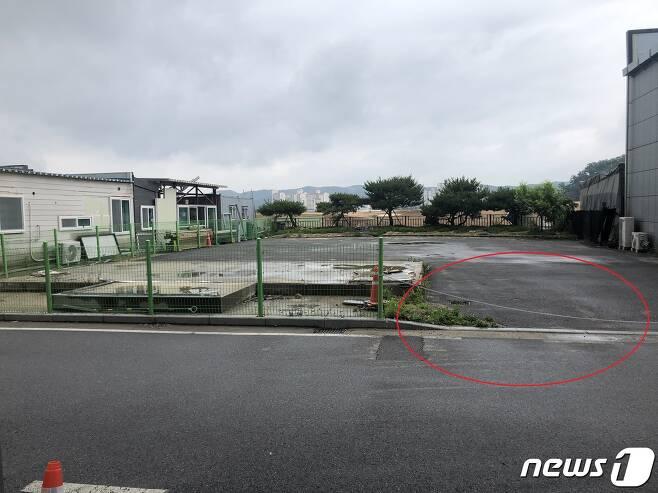 사건의 발단이 된 곳(빨간원)에 주차한 A씨.© 뉴스1 DB