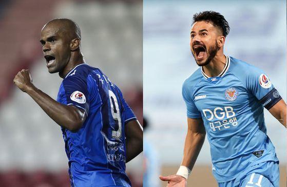 치열한 K리그1 득점왕 경쟁을 펼치고 있는 울산 주니오와 대구 세징야. 한국프로축구연맹