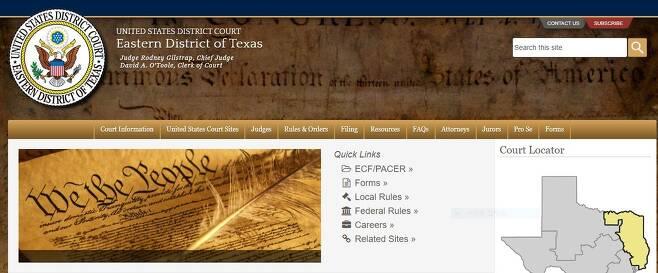 텍사스 동부지방법원 홈페이지 [텍사스 동부지방법원 홈페이지 캡처·재판매 및 DB 금지]