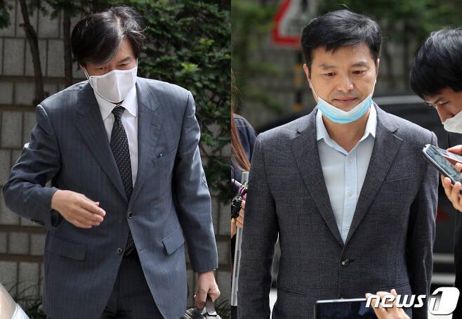 '유재수 감찰무마 혐의'를 받고 있는 조국 전 법무부장관(왼쪽)이 3일 오후 서울 서초구 중앙지방법원에서 열린 뇌물수수 등 혐의에 관한 4회 공판에 출석하고 있다. 이날 '감찰무마 의혹'을 폭로한 김태우 전 검찰수사관이 증인 신분으로 출석하고 있다. 2020.7.3/뉴스1 © News1 황기선 기자