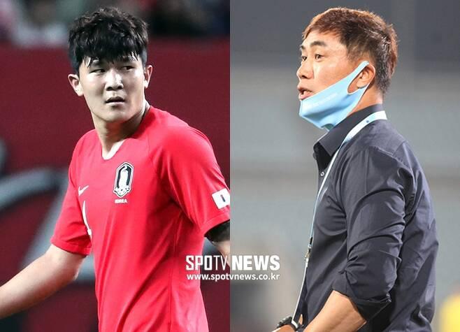 ▲ 김민재와 김태영 감독(오른쪽) ⓒ곽혜미 기자, 천안시축구단