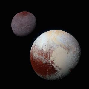 명왕성(오른쪽)과 그 위성인 '카론'. 사진=NASA.