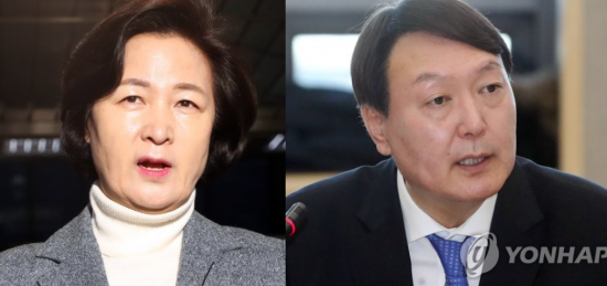 추미애 법무부 장관(왼쪽)과 윤석열 검찰총장. [이미지출처=연합뉴스]