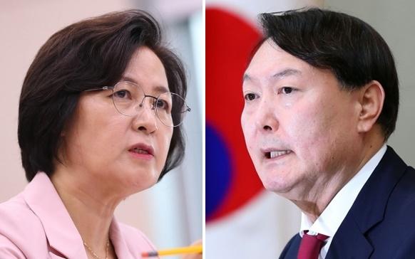 추미애 법무부장관(왼쪽)과 윤석열 검찰총장. [연합]