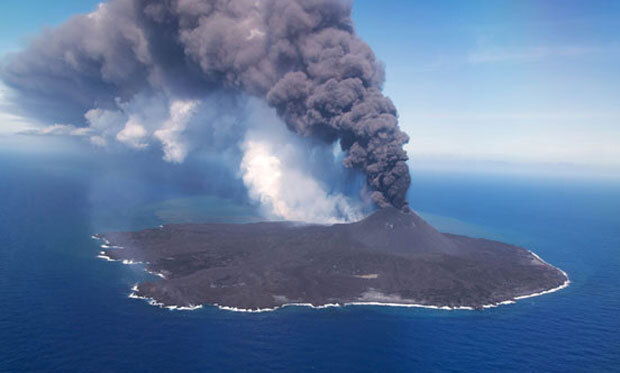 지난달 19일 관측된 니시노시마 화산 활동./사진=일본 해상보안청
