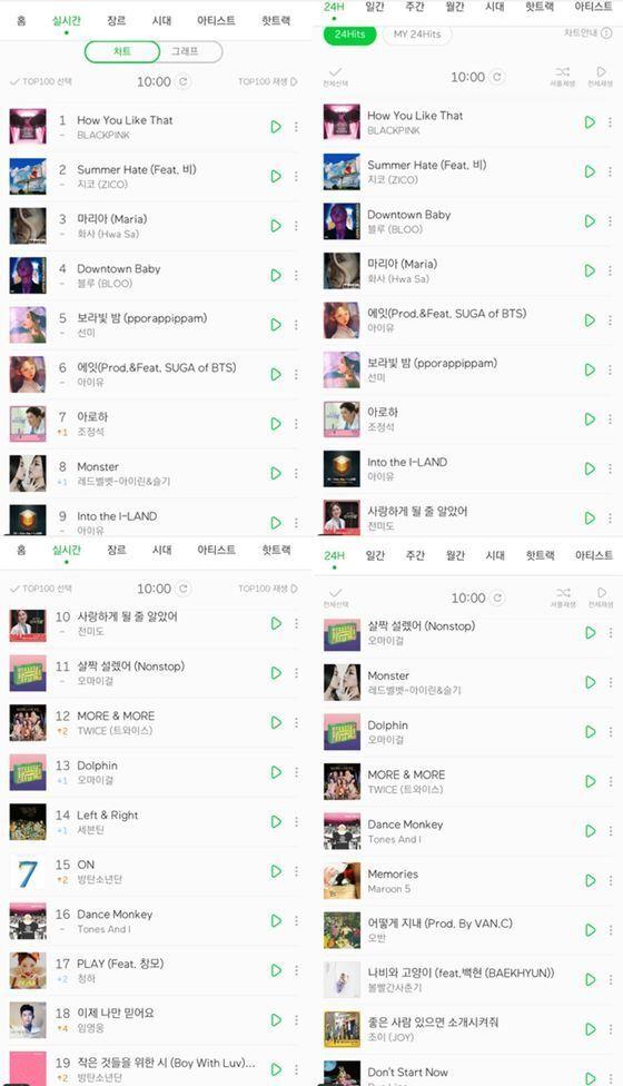 멜론 실시간/24Hits 차트 캡쳐