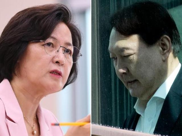 추미애 법무부 장관(왼쪽)과 윤석열 검찰총장