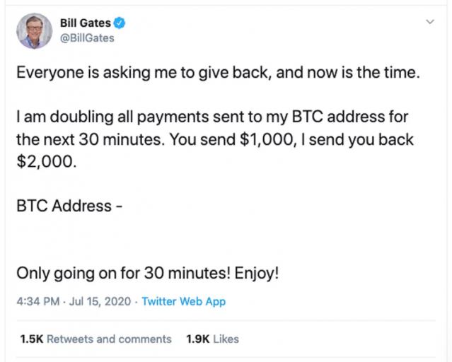 빌 게이츠의 트위터에도 암호화폐를 보내라는 메시지가 올라 왔다.