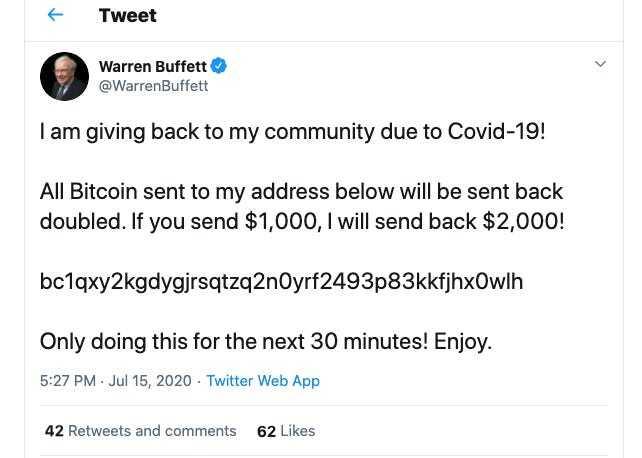 15일(현지시간) 해킹당한 워렌 버핏 버크셔해서웨이 회장의 트위터 계정.  '30분 안에 1000달러(약 120만원)를 비트코인으로 보내면 돈을 2배로 돌려주겠다'는 내용의 글이 올라왔다가 삭제됐다.