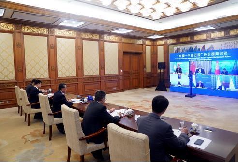 중국+중앙아시아5개국 외교장관 회상 회담 전경 [중국 외교부 홈페이지 캡처.재판매 및 DB 금지]