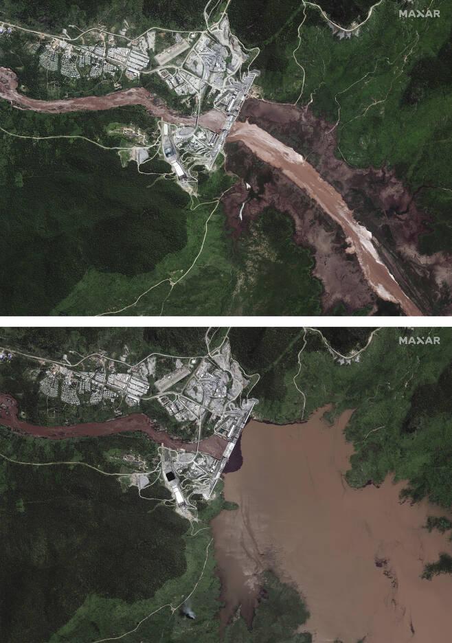 에티오피아 정부가 나일강 상류 청(blue)나일강에 건설중인 초대형 댐 '그랜드 에티오피아 르네상스 댐(GERD)'의 담수 전(상단 사진)과 후의 차이나는 모습. 상단 사진은 지난달 26일 촬영됐으며, 하단 사진은 지난 12일 촬영됐다. [AP]