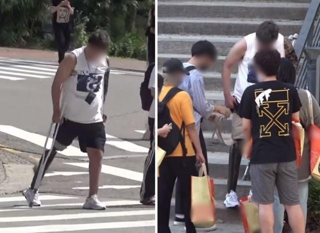 지난 11일 유튜브 '프랭크 프렌즈' 채널에 공개된 영상. 장애인의 의족이 빠졌을 때 시민들의 반응을 보는 사회적 실험을 담았다. 프랭크 프렌즈 캡처