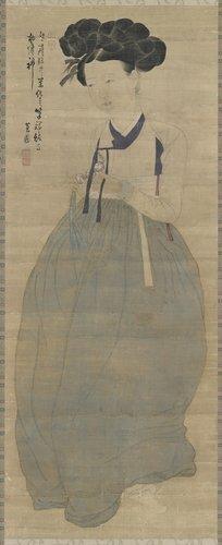 간송미술관 소장 유물로 오는 8월 12일부터 교체전시되는 혜원 신윤복의 '미인도'. [사진 문화재청]
