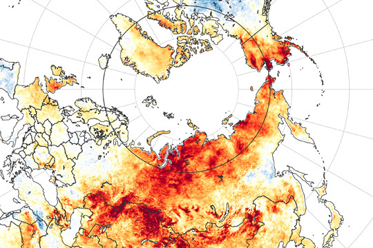 지난 3월 19일부터 6월 20일까지의 지표면 기온 이상을 보여주는 위성사진. 나사(미 항공우주국)가 공개한 이 사진에서 빨간색이 표시된 영역의 경우에는 2003∼2018년 사이의 같은 기간 평균보다 기온이 더 상승했다는 것을 뜻한다. 북반구에서 가장 추운 지역으로 꼽히는 시베리아 동부의 경우에는 올 들어 이상 고온 현상이 빈번하게 발생하면서 기상학자들을 놀라게 하고 있다.  연합뉴스