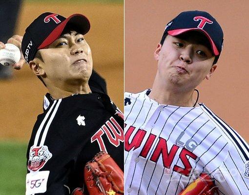 LG 김윤식(왼쪽)-이민호. 스포츠동아DB