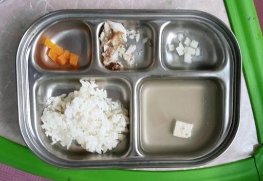 제주 일부 어린이집 부실 급식. 제주평등보육노동조합 제공