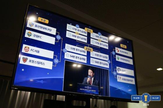 지난 21일 축구회관에서 열린 2020 하나은행 FA컵 8강 대진추첨식. 회의실 내 모니터에 완성된 8강 대진표가 표시되고 있다. 대한축구협회 제공