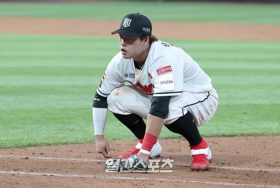 강백호의 경기 집중력이 데뷔 1, 2년 차보다 떨어져 보인다. IS포토