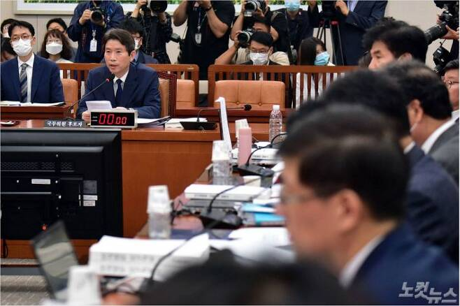 이인영 통일부 장관 후보자가 23일 오전 국회 외교통일위원회 인사청문회에서 의원 질의를 받고 있다. (사진=윤창원 기자)
