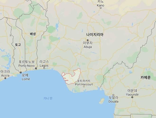 한국인 선원들이 인질로 억류됐던 나이지리아 델타지역(붉은선) [구글 지도 캡처, 재판매 및 DB 금지]