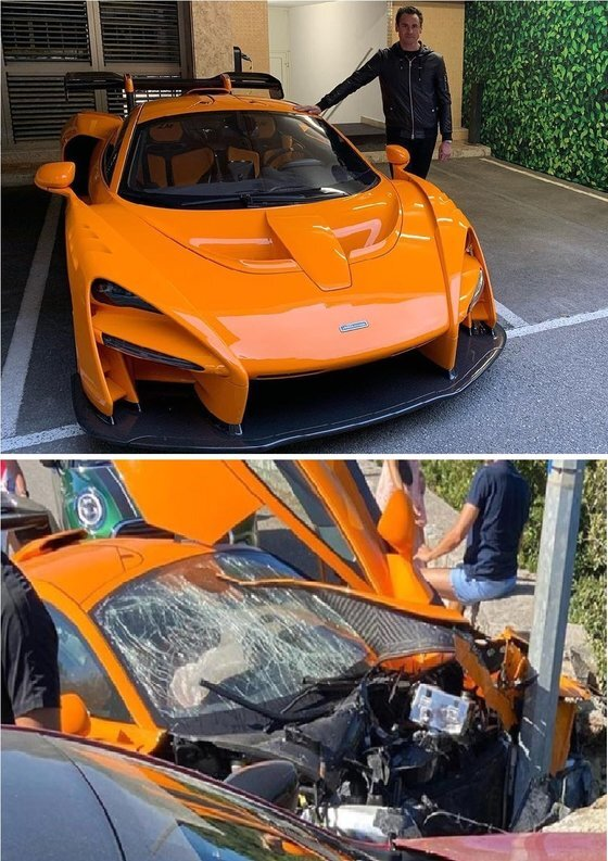 전직 F1 드라이버 아드리안 수틸이 자신이 소유한 18억원이 넘는 슈퍼카와 함께 사진을 찍었다(위). 이 차량은 지난 28일(현지시간) 모나코에서 거리의 기둥을 들이받아 심하게 파손됐다(아래). [트위터 캡처]
