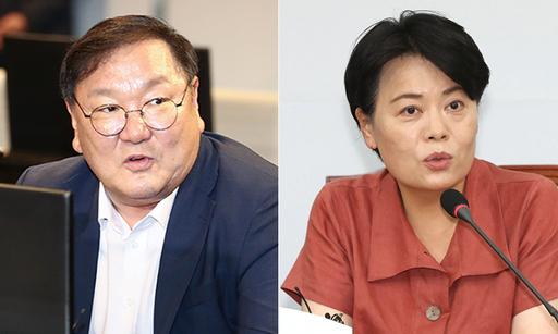 민주당 김태년 원내대표(왼쪽),미래통합당 윤희숙 의원. 연합뉴스