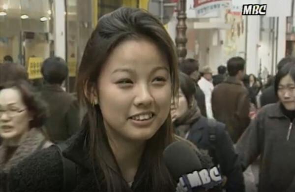 1997년 MBC 뉴스데스크에 출연한 이효리. 핑클로 데뷔하기 전이다.