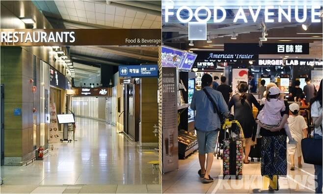 지난달 29일 오전 인천국제공항 1터미널 식당가(오른쪽)가 텅 비어있는 반면 김포공항 국내선 청사 식당가(왼쪽)가 이용객들로 붐비고 있다.