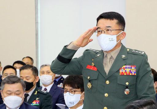 이승도 해병대 사령관이 28일 국회 국방위원회 전체회의에 참석하고 있다. 연합뉴스