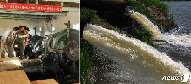 (평양 노동신문=뉴스1) = 북한 노동당 기관지 노동신문은 5일 '큰물(홍수)주의 경보'를 발령했다. 신문은 '여러 지역에 폭우, 많은 비 경보가 내려진 데 이어 6일과 7일 사이에 대동강 유역, 예성강 유역과 금야호에 큰물주의 경보가 내려졌다'라고 보도했다. 사진은 홍수 피해를 막기 위해 분주하게 일하는 황주군관개관리소 노동자들의 모습.   [국내에서만 사용가능. 재배포 금지. DB 금지. For Use Only in the Republic of Korea. Redistribution Prohibited]  rodongphoto@news1.kr