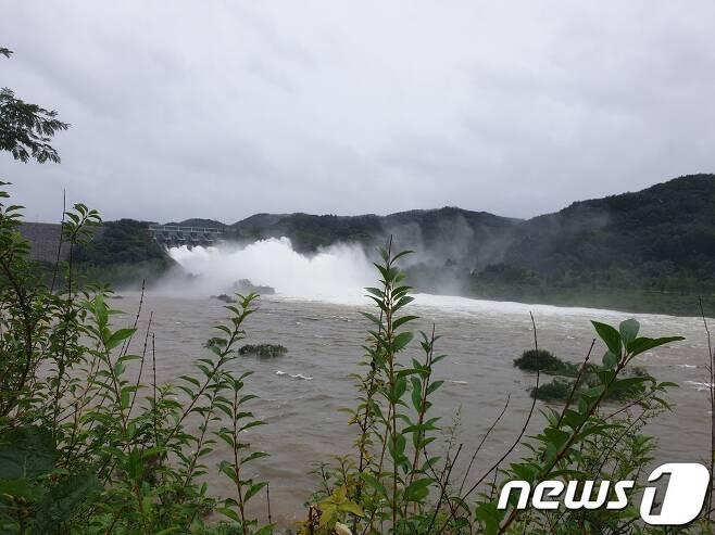 8일 저수율 100%를 보이고 전북 진안군 소재 용담댐이 오후 12시 현재 초당 3200톤을 방류하고 있다.2020.8.8/뉴스1 © News1 김동규 기자