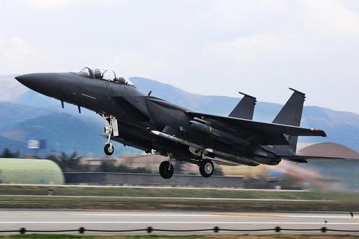 한국 공군 F-15K 전투기가 이륙하고 있다. 세계일보 자료사진