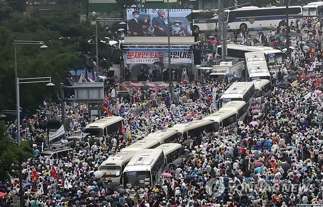 광화문 집회 당시 모습 [연합뉴스 자료사진]