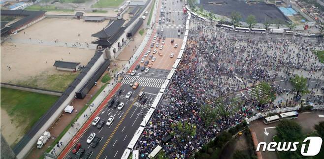 15일 서울 종로구 광화문광장 집회 2020.8.15 /© News1 김명섭 기자