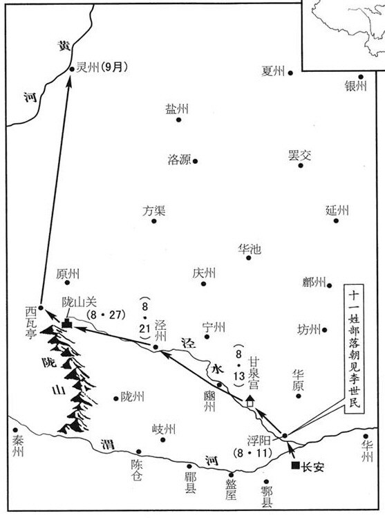 646년 8~10월 당 태종의 북방 순행 경로 / 지도=바이두