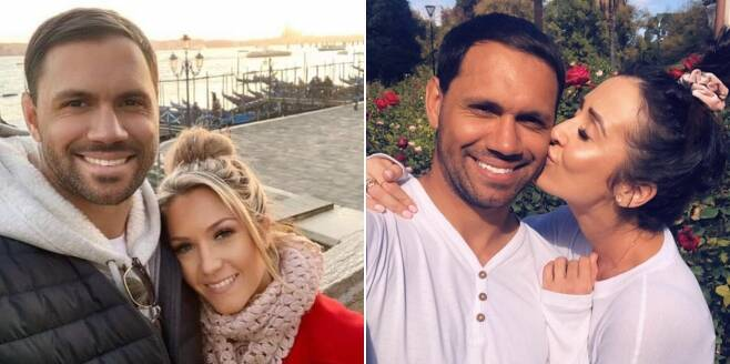 힐과 약혼녀 더피(왼쪽), 오른쪽은 윅스와 함께 찍은 사진. [힐과 윅스의 소셜 미디어 사진 캡처. 재판매 및 DB 금지]