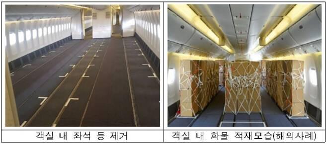국토교통부는 지난 1일 대한항공의 여객기 개조 신청건을 적합하다고 판단, 이를 승인했다. 사진은 개조 후 객실 바닥에 화물 적재 예시 모습. (국토부 제공)© 뉴스1