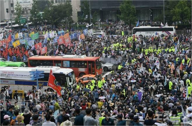 8월 15일 광화문광장 집회 (사진=이한형 기자)