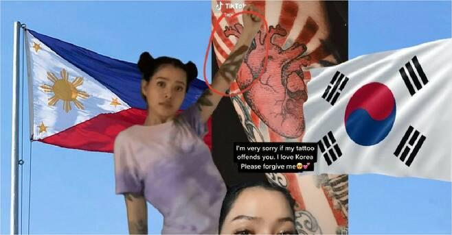 필리핀 사회관계망서비스(SNS) 인플루언서가 일본 제국주의 상징인 '욱일기' 문양의 문신을 한 사진을 SNS에 올렸다가 뒤늦게 잘못을 깨우치고 사과했지만, 일부 한국 네티즌이 인종차별적 댓글을 다는 바람에 현지 네티즌이 발끈했다.     9일 소식통과 마닐라 블루틴 등 현지 언론에 따르면 필리핀 SNS 인플루언서 벨라 포치는 최근 왼쪽 팔에 욱일기 문양의 문신을 한 것을 SNS에 올렸다가 한국 네티즌들의 거센 비난을 받았다. 또 필피핀 네티즌들은 일부 한국 네티즌들의 인종차별적 비난 댓글에 반발하고 있다. 사진은 논란이 된 필리핀 SNS 인플루언서의 욱일기 문신. (사진=연합뉴스 제공)