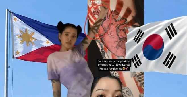 논란이 된 필리핀 SNS 인플루언서 욱일기 문양 문신 [마닐라 블루틴 웹사이트 캡처. 재판매 및 DB 금지]