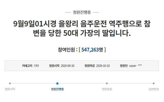 지난 9일 음주운전 차량에 치여 사망한 50대 가장의 딸이 10일 청와대 청원게시판에 글을 올렸다. 이 청원은 사흘 만에 50만명 이상의 동의를 얻었다./인터넷 캡처
