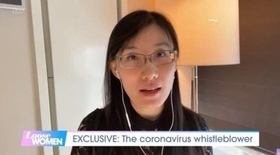 중국 출신 바이러스 학자 옌리멍이 11일 영국매체 ITV 토크쇼 루즈 우먼과 인터뷰하고 있다. ITV 영상 캡처