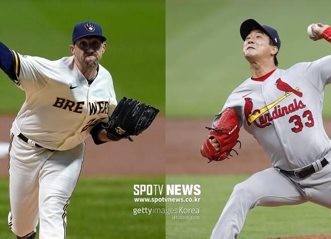 ▲ 조쉬 린드블럼(왼쪽)-김광현.