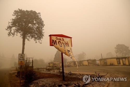 14일(현지시간) '비치크리크 화재'가 휩쓸고 지나간 미 오리건주 게이츠 산불 피해 현장의 모습. [로이터=연합뉴스]